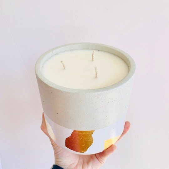 Pumpkin + Persimmon Concrete Candle - Large Cylinder