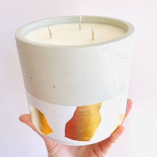 Spiced Pear + Whiskey Concrete Candle - Large Cylinder