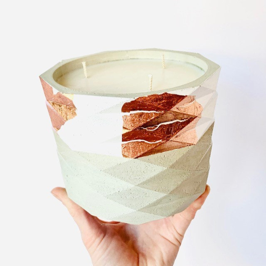Maple Chai + Sweet Cream Concrete Candle - Large Geometric Cylinder