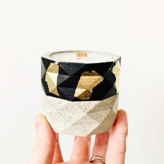 Pear + Honey Concrete Candle - Geometric Cylinder