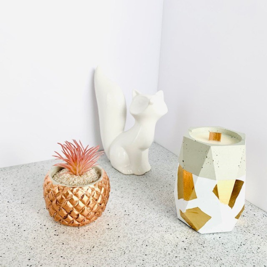 Sheer Vanilla + Orchid Concrete Candle - Tall Hexagon