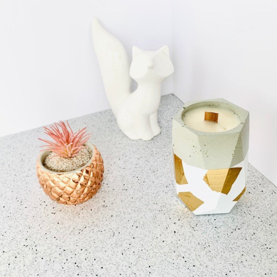 Spiced Pear + Whiskey Concrete Candle - Tall Hexagon