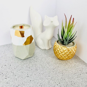 Pumpkin + Persimmon Concrete Candle - Tall Hexagon