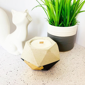 Pear + Honey Concrete Candle - Geometric Hexagon