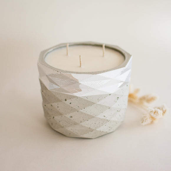 Triple Wick Concrete Candle - Large Geometric Cylinder