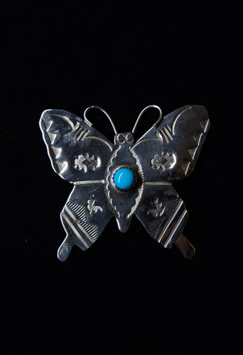 Butterfly Pin Sterling Turquoise