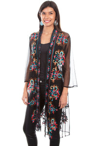 Mesh Embroidered duster