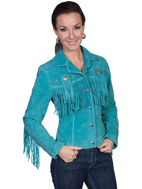 Turquoise Fringe Leather Jacket