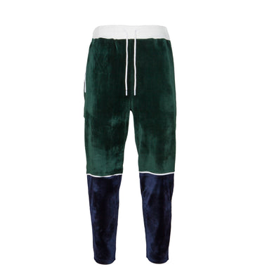 Velour Track Pant (Navy/Green)