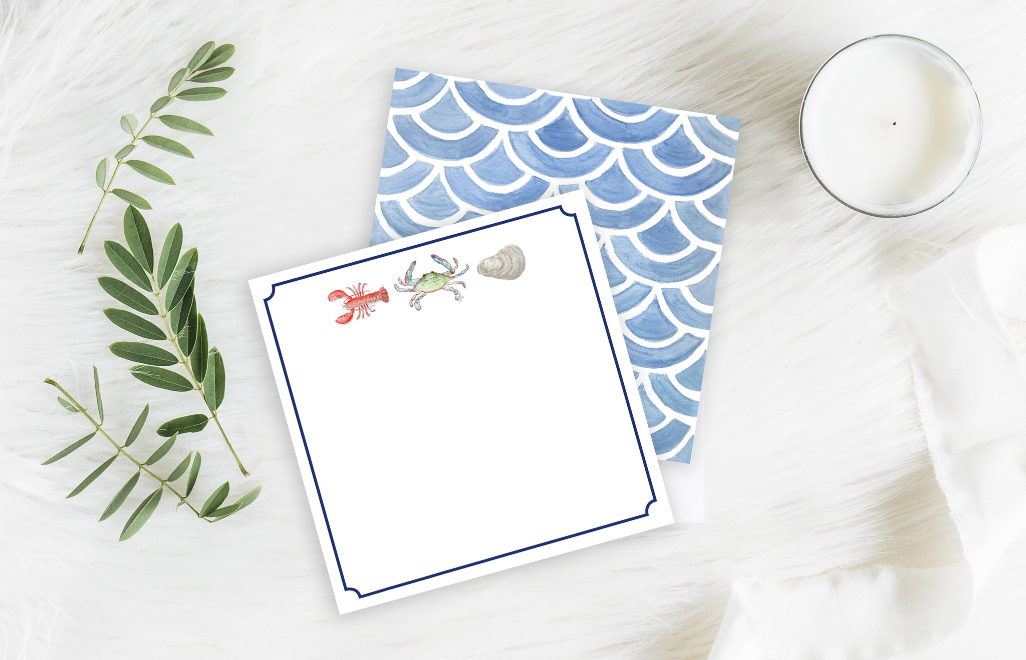 Seafood Feast - 5.5 x 5.5 Flat Notecard Set