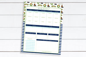 WEEKLY Worksheets - (New England + Stripes Pattern) - 8.5x11 Notepad