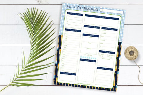 DAILY Worksheets - (Oars + Gingham) - 8.5x11 Notepad