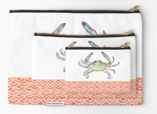 Crab + Scales - Zipper Pouch (3 sizes)