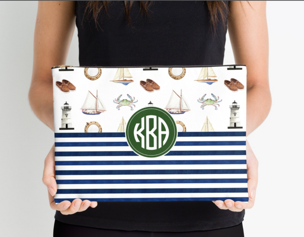 Monogrammed Sailing + Stripes Zipper Pouch (3 sizes to choose from)