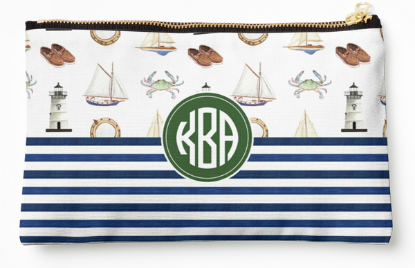 Personalized Sailing + Stripes Zipper Pouch