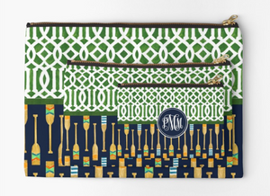 Monogrammed Green Trellis + Oars Zipper Pouch (3 sizes to choose from)