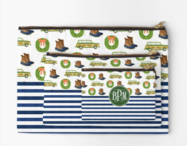 Monogrammed Prep + Stripes Zipper Pouch (3 sizes to choose from)