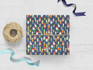 Lobster Buoys on Blue Gift Wrap