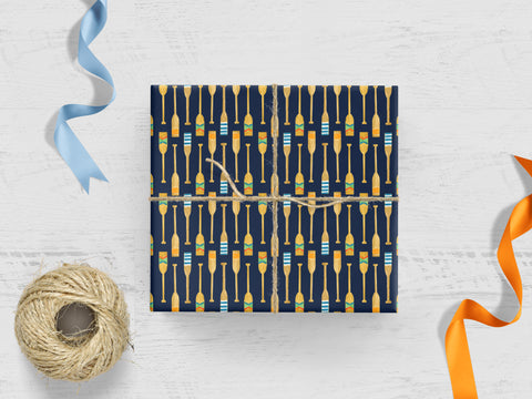 Oars on Navy Gift Wrap