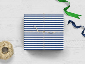 Navy + White Striped Gift Wrap