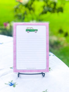 Green Bronco + Pink Gingham - 5x7 Notepad
