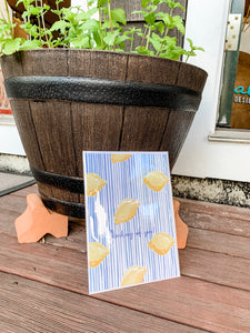 Lemons + Stripes (Thinking of You)-  5x7 Blank Greeting Card + Envelope