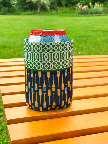 Green Trellis + Navy Oars - Drink Coozie