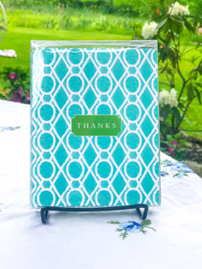 "Teal Lattice ""Thanks"" - A2 Boxed Notecards with Envelopes"