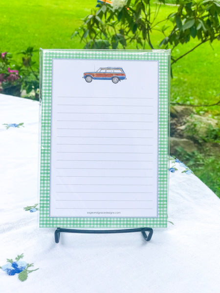 Wagoneer + Green Gingham - 5x7 Notepad