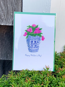 Hydrangeas in a Ginger Jar (Mother's Day Card) -  5x7 Blank Greeting Card + Envelope