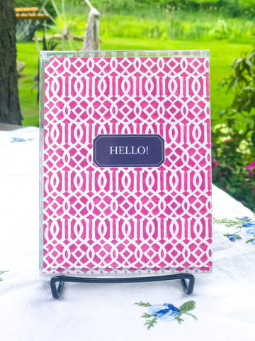 "Pink Trellis ""Hello"" - A2 Boxed Notecards with Envelopes"