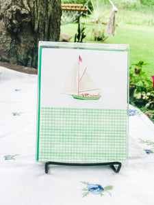 Sailing + Green Gingham - A2 Boxed Notecards with Envelopes