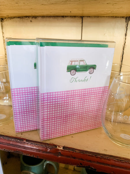 Green Bronco + Pink Gingham - A2 Boxed Notecards with Envelopes