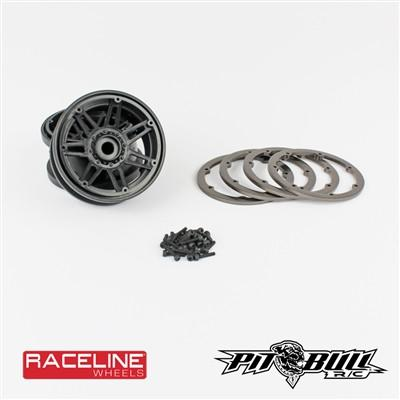 1.9 RACELINE #931 Injector Scale - Beadlock Wheels Black, with GUN METAL Rings (2)