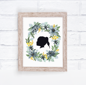 Watercolor Silhouette Portrait - Green and Blue Floral Wreath