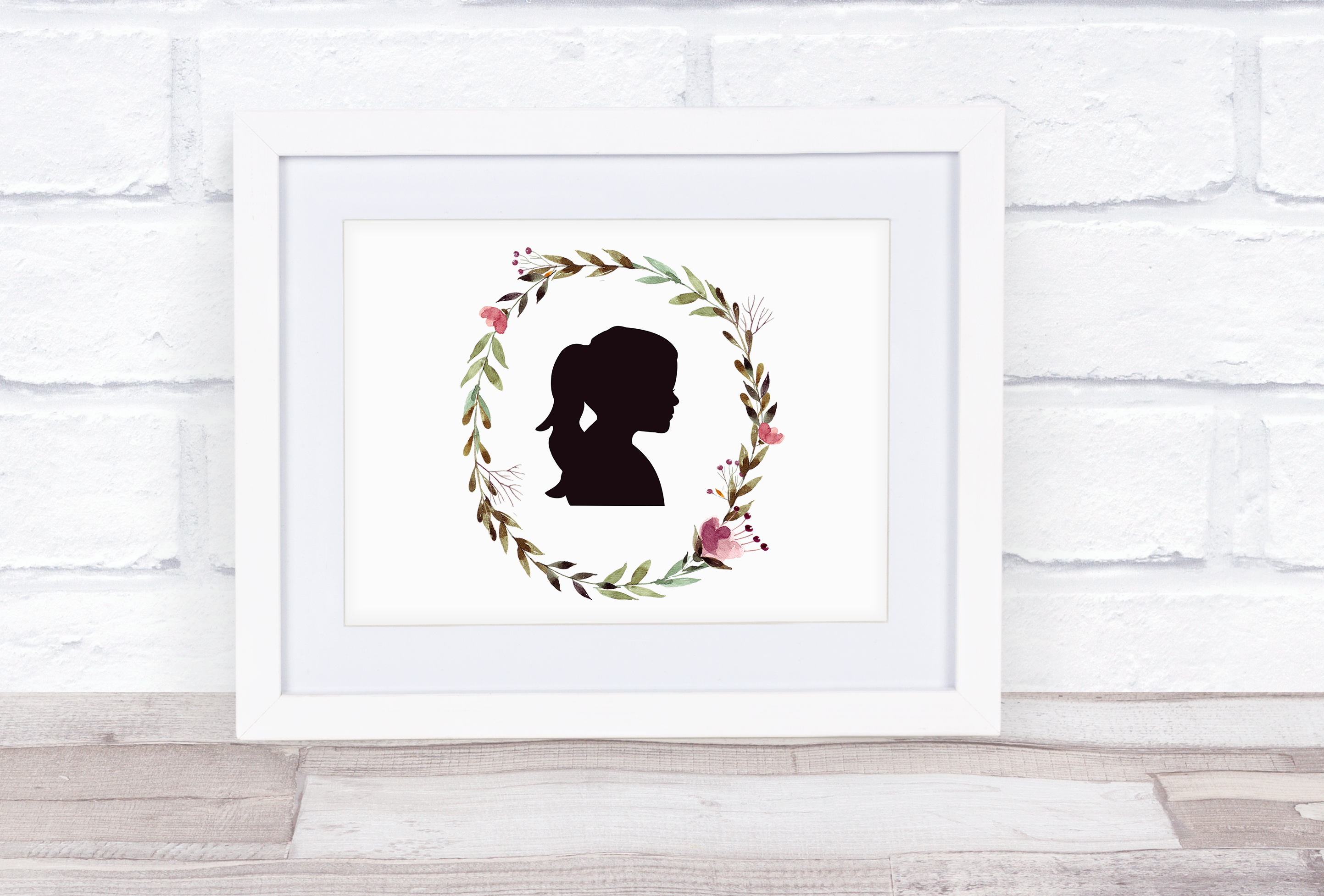 Watercolor Silhouette Portrait - Brown and Pink Floral Wreath