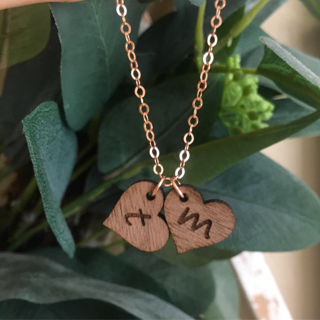 Walnut Initial Necklace