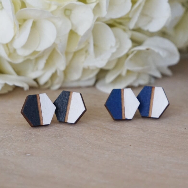 Wood Hexagon Stud Earrings