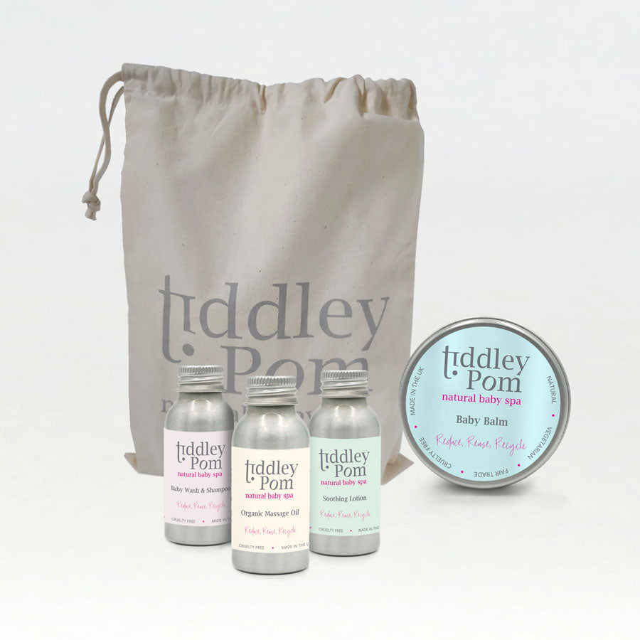 Tiddley Pom Baby Natural Travel Bag