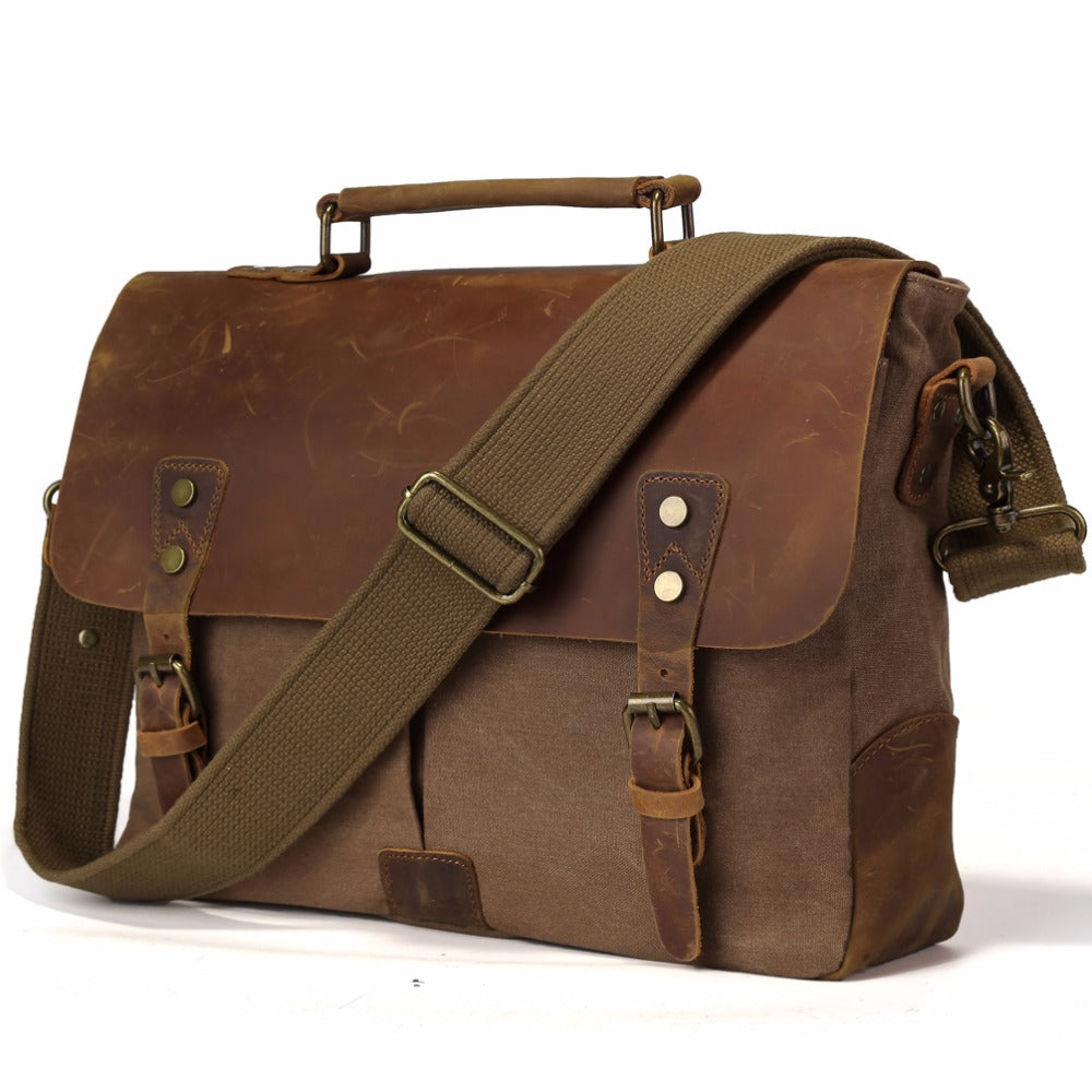 2b07d52c09db TIDING Vintage Real Leather Canvas Bags 14 inch Laptop Bag Retro Style  Cross Body Messenger Bag Crazy Horse Leather Bags