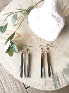 Double Decker leather tassel earrings - The Branded Branch