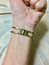 Bangle bracelet in antique brass with wood accent - The Branded Branch