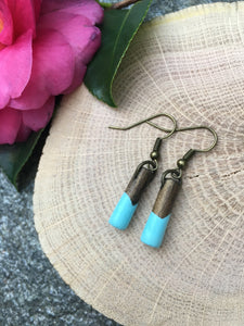 TURQUOISE - Short - Classic wood dipped pendant earrings - The Branded Branch