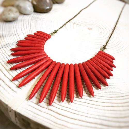 Red Stone Fringe Necklace - The Branded Branch