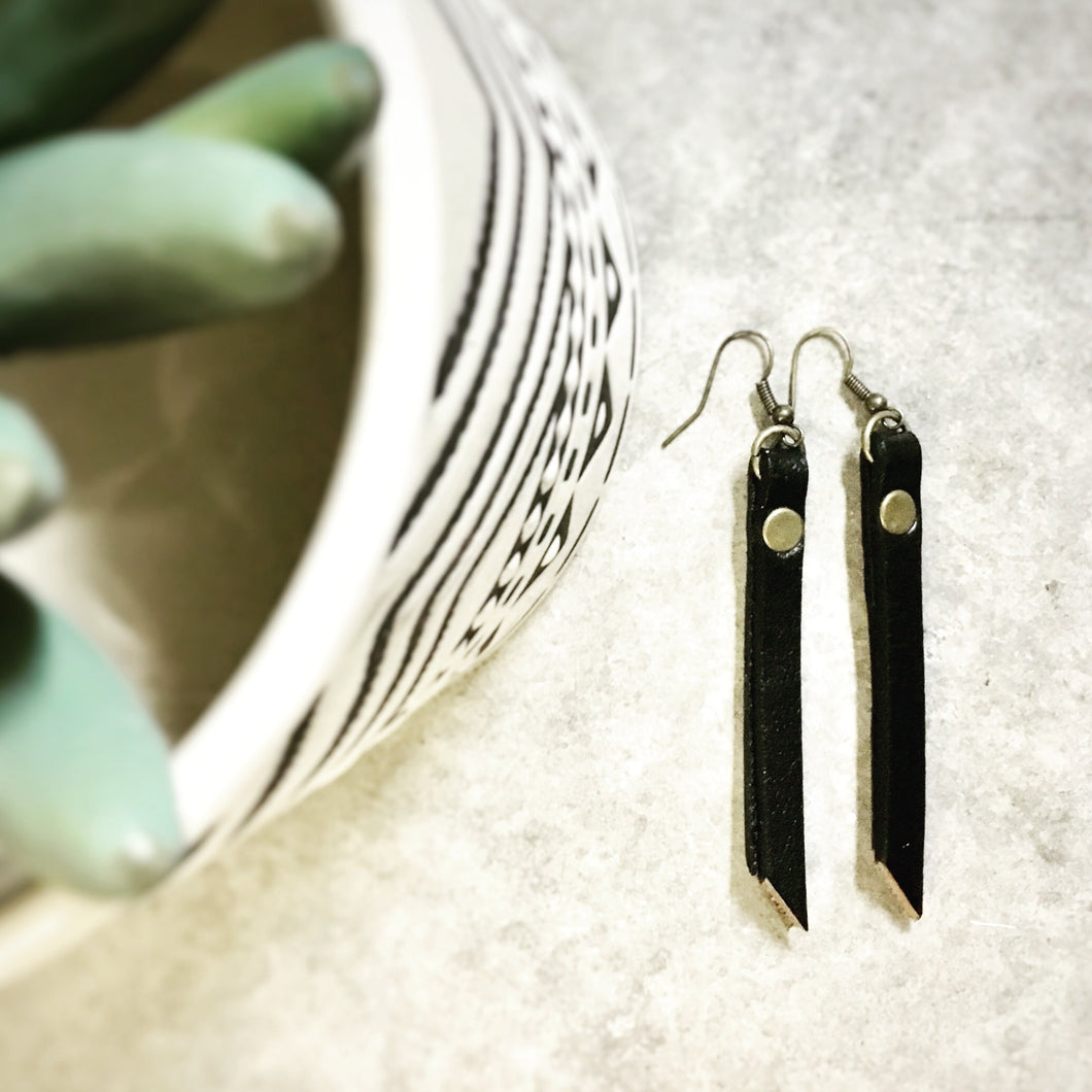 Leather Strap Bar Earrings - The Branded Branch