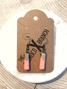 CORAL - Short - Classic wood dipped pendant earrings - The Branded Branch