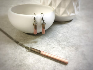 ROSE GOLD - Short - Classic wood dipped pendant earrings - The Branded Branch
