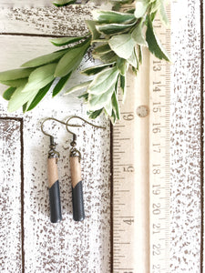 CARBON BLACK - Long - Classic wood dipped pendant earrings - The Branded Branch