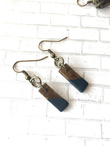 NAVY - Short - Classic wood dipped rectangle earrings - The Branded Branch