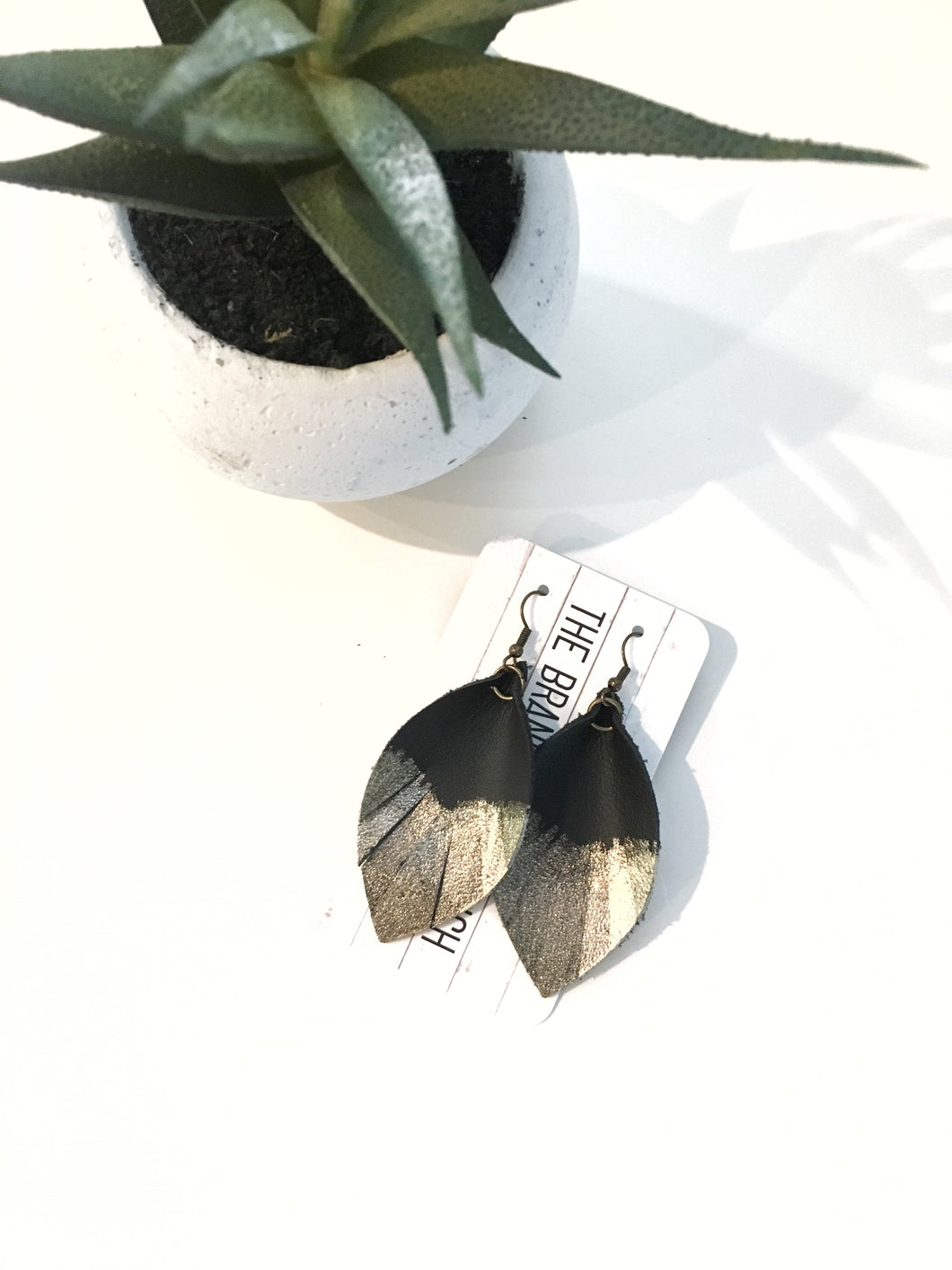 Feathered leather leaf earrings in Black with Gold + Silver accent - The Branded Branch